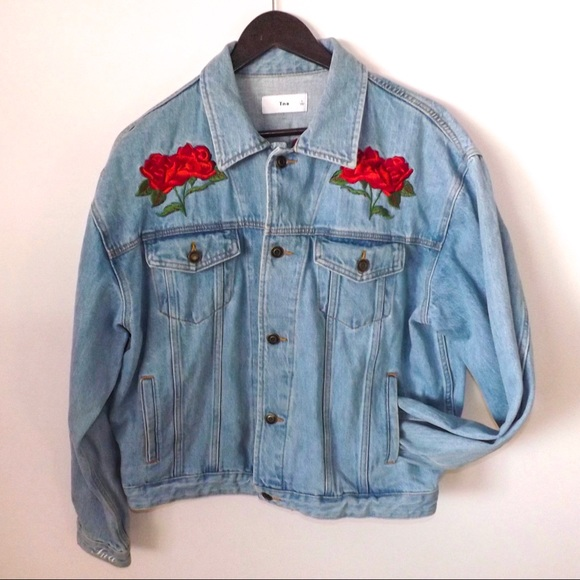 TNA Jackets & Blazers - TNA Jean Jacket with Rose Embroidery